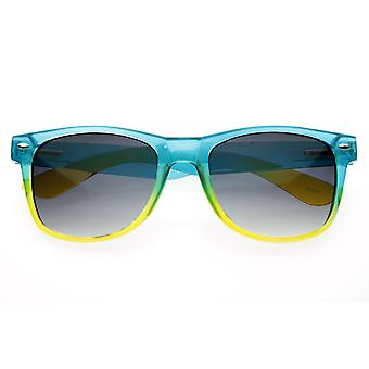 Colorful Gradient Bright Jelly Dual Candy Horn Rimmed Sunglasses