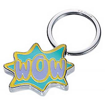 Troika Caution Comic WOW Key Ring - Green/Purple