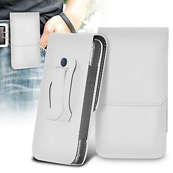 LG G4c Vertical Faux Leather Belt Holster Pouch Cover Case (White)