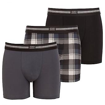 Jockey Cotton Stretch 3-Pack Boxer Trunk, Black / Check / Grey, Small