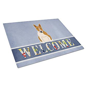 Bull Terrier Red White Welcome Glass Cutting Board Large