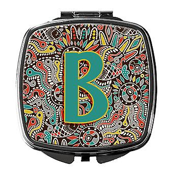 Letter B Retro Tribal Alphabet Initial Compact Mirror