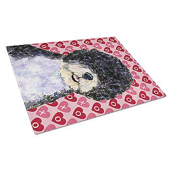 Portuguese Water Dog Hearts Love and Valentine's Day Glass Cutting Board Large