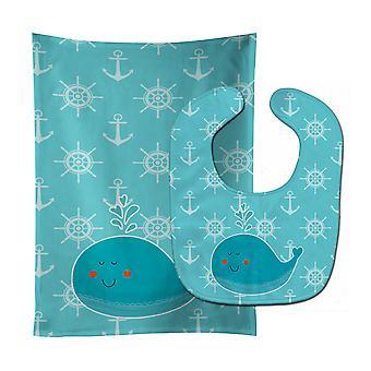 Carolines Treasures  BB6765STBU Whale with Anchors Baby Bib & Burp Cloth