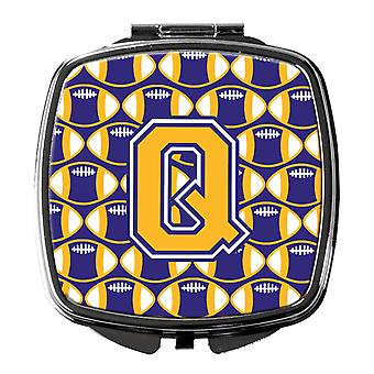 Letter Q Football Purple and Gold Compact Mirror