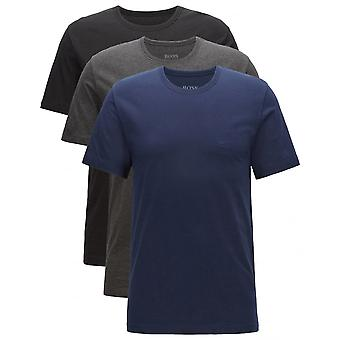 Hugo Boss 3-Pack Crew-Neck T-Shirts, Navy/Charcoal/Black