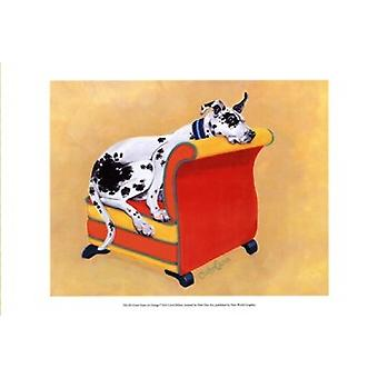 Great Dane on Orange Poster Print by Carol Dillon (19 x 13)