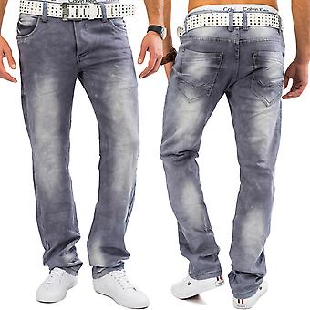 Men's jeans grey MILO bleached denim stretch Pant comfort regular fit