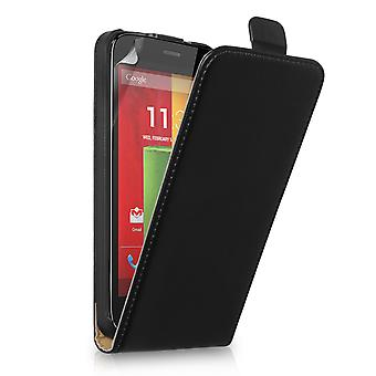 Caseflex Motorola Moto G Real Leather Flip Case - Black
