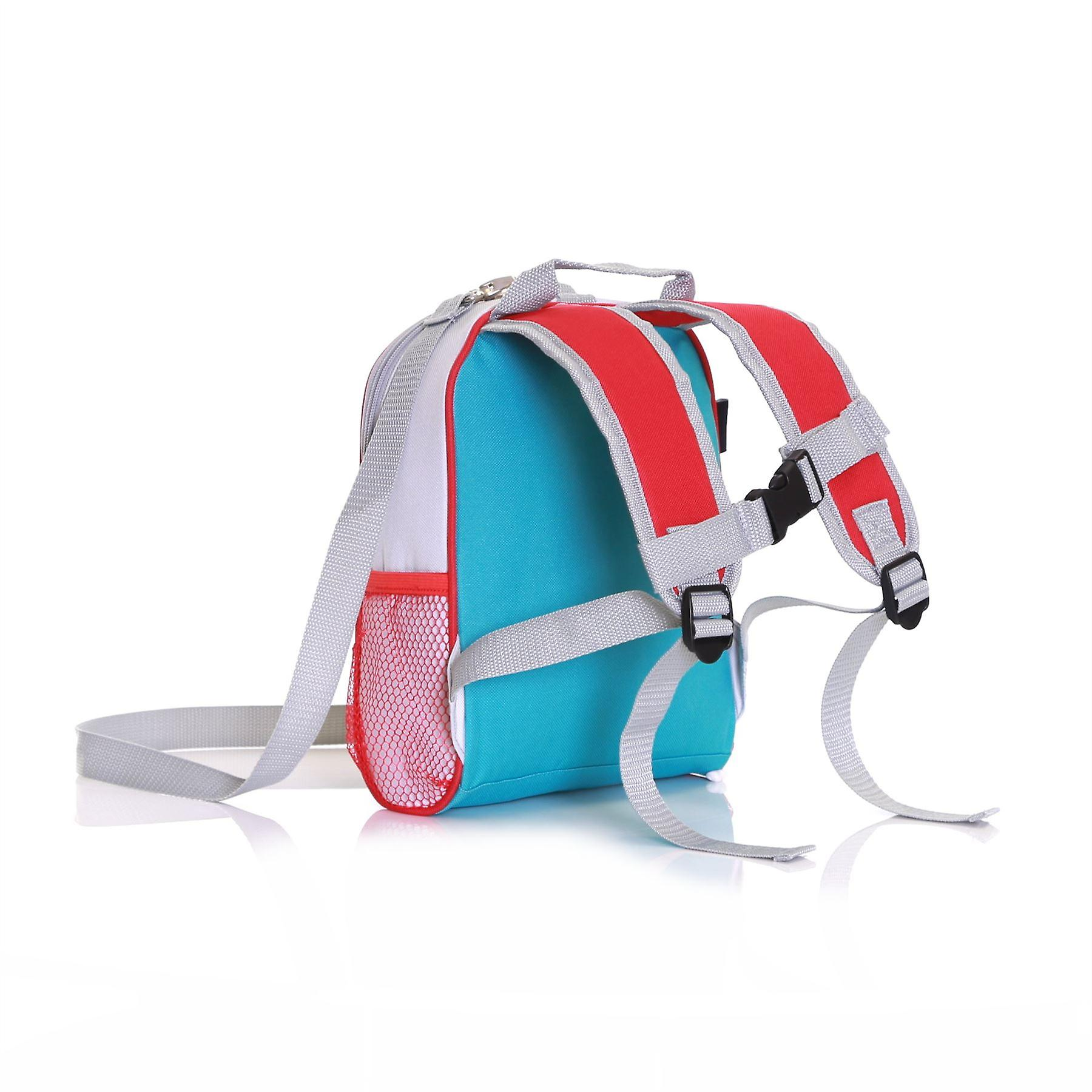 Wobbly Forest Teddy Toddler Backpack With Safety Rein, Turquoise/Red