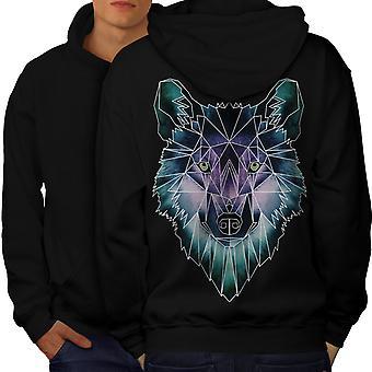 Psychodelic Wolf hommes BlackHoodie dos | Wellcoda