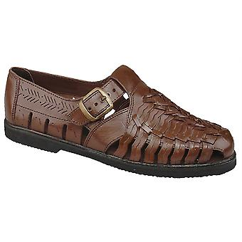 Mens New Leather Buckle Strap Padded Sock Closed Toe Sandals Shoes