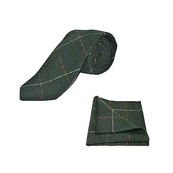 Luxury Herringbone Forest Green Tweed Men's Tie & Pocket Square Set