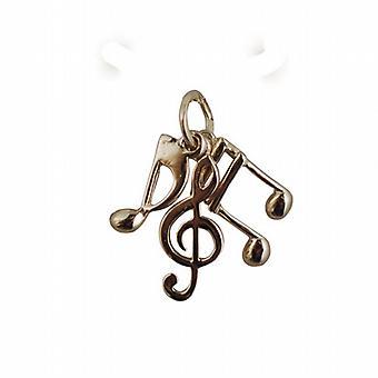 9ct Gold 12x5mm Musical Notes, Anhänger oder Charm