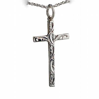 Silver 25x14mm hand engraved solid block Cross with a rolo Chain 14 inches Only Suitable for Children