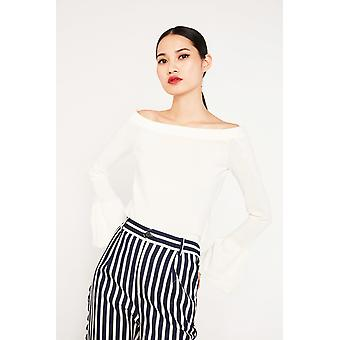 English Factory Off-The-Shoulder Knit Top With Bell Sleeves