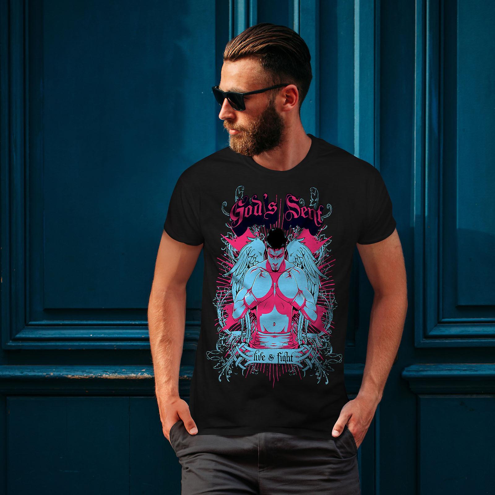 God's Sent Boxer Men BlackT-shirt | Wellcoda