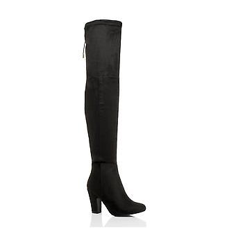 Ajvani Damen high-Heel-Kabelbinder, Reiten über die Knie-Overknee-Stiefel