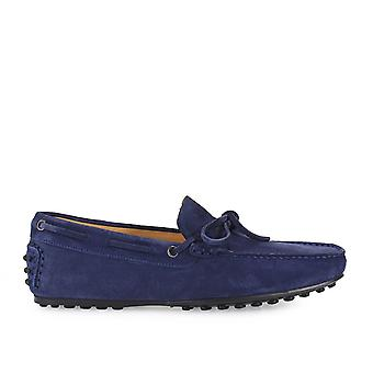 Triver flight men's 98021BLU Blue Suede moccasins