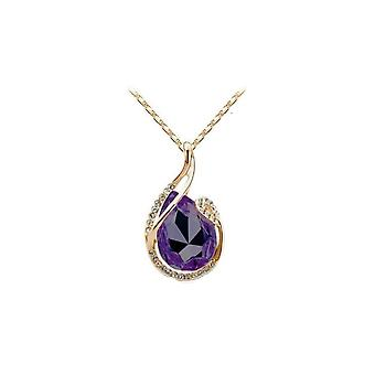 Womens Large Dark Purple Teardrop Stone Pendant Necklace with Gold Tone Cradle