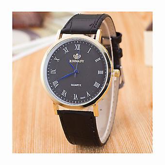 Slim Thin Unisex Watch Black Leather