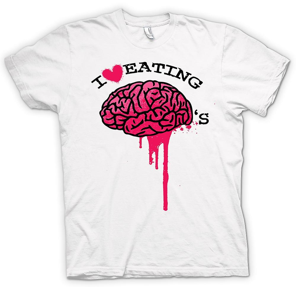 Womens T-shirt - I Love Eating Brains - Zombie - Funny