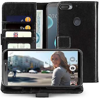 HTC Desire 12 Plus PU cuir ID Stand portefeuille - noir