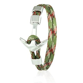 Skipper anchor bracelet 21 cm nylon arm jewellery in olive multi colored with silver anchor 6963