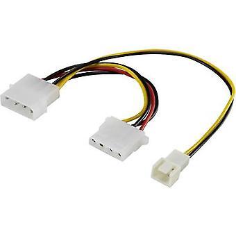 Cable del ventilador Y de PC [1 x ventilador de PC enchufe 3 polos-4-perno del enchufe 1 x IDE conector 4-pin IDE potencia] 0.20 m negro, rojo, amarillo Renkforce