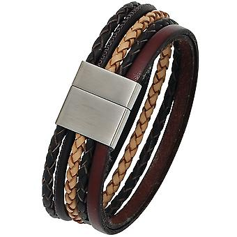 Bracelet leather multi-colored with stainless steel 20 cm leather bracelet wide