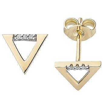 Studs triangle 585 Gold Yellow Gold 6 diamonds brilliant 0, 02 ct. Earwire