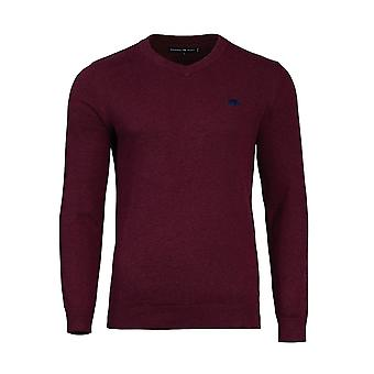 V-Neck Cotton Cashmere Sweater - Burgundy