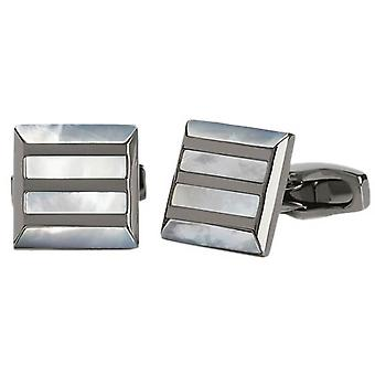 Simon Carter Stone Grille Mother of Pearl Cufflinks - White/Grey/Silver