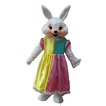 mascot SPOTSOUND of rabbit white and pink, with a princess dress