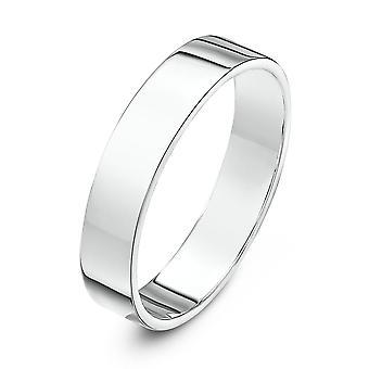 Star Wedding Rings 18ct White Gold Heavy Flat 4mm Wedding Ring