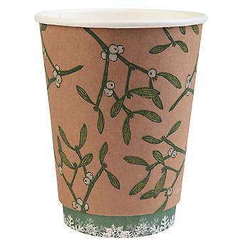 Double Wall Christmas Cups with Mistletoe Design 16oz