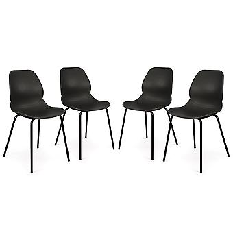 Set of 4 Nova Retro Modern Utility Side Guest Chairs