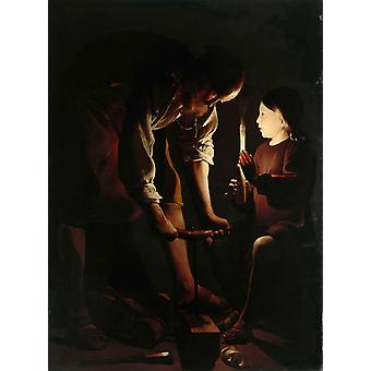 Christ with Saint Joseph in the,Georges de La Tour,50x40cm