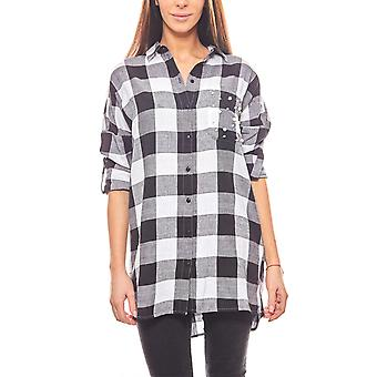 Noisy may casual ladies oversize shirt black/white checkered