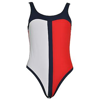 Tommy Hilfiger Women Tommy Hilfiger One-Piece Signature Swimsuit, Tango Red / Navy Blazer / White, X-Small