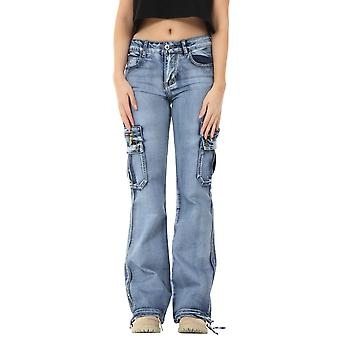 Wide Leg Light Wash Denim Cargo Pants Combat Jeans