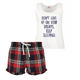 Don't Give Up On your Dreams Keep Sleeping Ladies Tartan Frill Short Pyjama Set Red Blue or Green Blue