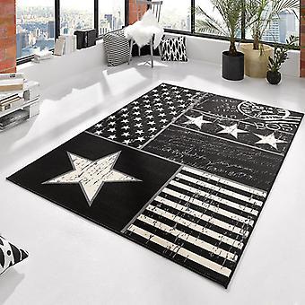 Design velour carpet of patchwork stars black 140 x 200 cm | 102399