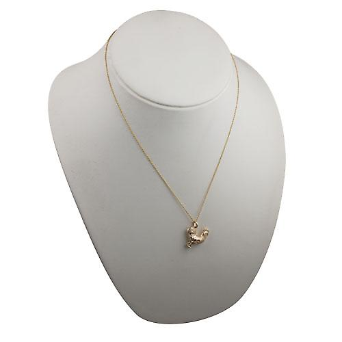 9ct Gold 24x21mm solid Cockerel Pendant with a cable Chain 20 inches