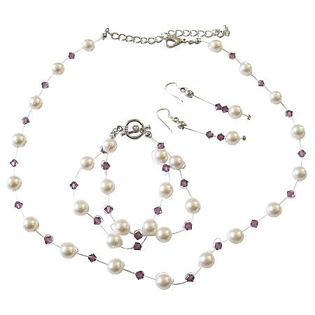 Aemthyst Swarovski Crystals & White Pearls Handcrafted Custom Jewelry