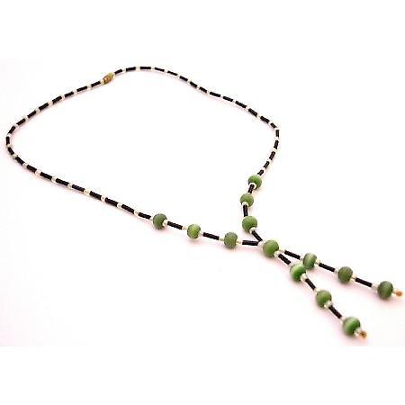 Terrific Return Gift Black Pipe Necklace Tassel Drop Down Necklace