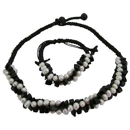 Bridal Bridesmaid Jewelry Onyx Freshwater Necklace Bracelet