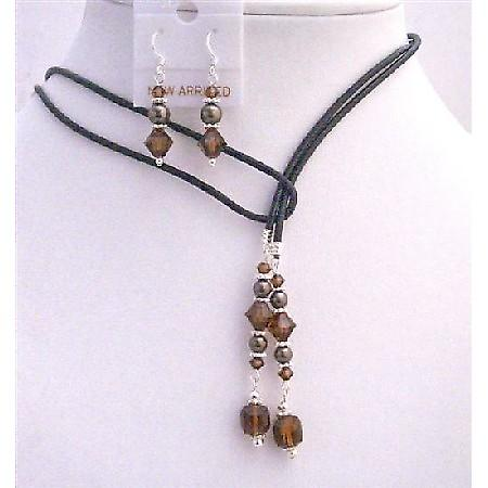 Brown Mocca Pearls Jewelry w/ Smoked Topaz Crystals Jewelry Set
