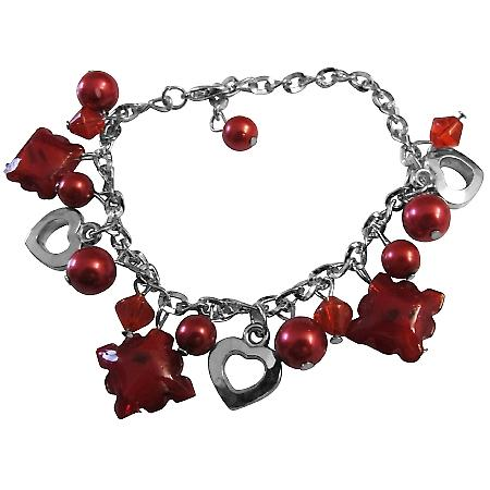 Striking Red Charm Bracelet Red Pearl Red Crystals Heart Jewelry