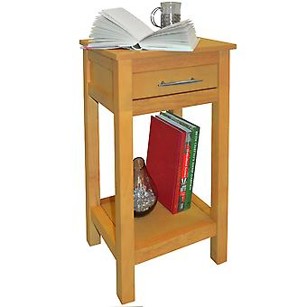 Aspen - Solid Wood Storage Telephone / End / Bedside Table With Drawer - Light Wood
